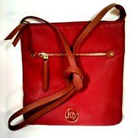 "Joy Mangano Wm Leather Crossbody Handbag Burgndy 9.5"" sq/ 49"" Strap NWOT  A114"