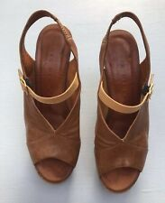 Chie Mihara 38 Brown Leather Sandals High Heel Peeptoe Womens Shoes