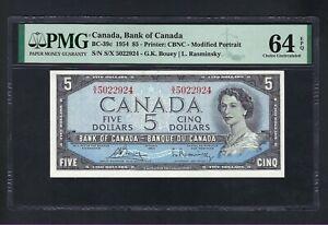 Canada 5 Dollars 1954 BC-39c Uncirculated Graded 64