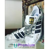Adidas Superstar Bianche Strisce Glitterate Nere [Prodotto Customizzato] Scarpe