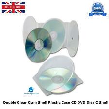 50 X DOPPIO CHIARO Clam Shell Custodia in PLASTICA CD DVD memoria su disco blocco 2disk SHELL C