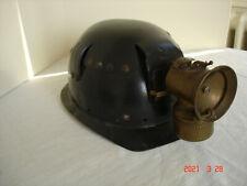Casque de Mineur avec sa Lampe JUSTRITE Carbure/Acétylène Frontale - Rare