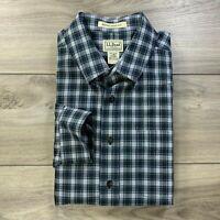 LL Bean Men's Wrinkle Resistant Long Sleeve Blue Plaid Button Down Shirt Size L