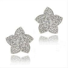 925 Silver CZ Flower Stud Earrings
