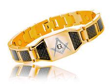 Masonic Bracelet Gold Plated Steel w/ Black Carbon Fiber Freemason Link Bracelet