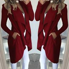Women Fashion Windbreaker Outwear Cardigan Long Jacket Trench Coat Plus Size