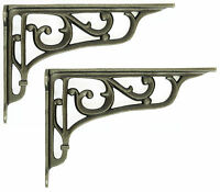 "Pair 9"" / 22cm Cast Iron Edwardian Scroll Wall Shelf Brackets decorative antique"