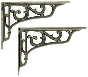 "Pair 9"" / 22cm Cast Iron Edwardian Scroll Wall Shelf Brackets decorative antique"