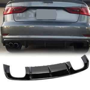 For Audi S3 A3 Sline Sedan 13-16 Gloss Black Rear Bumper Diffuser Lip Spoiler