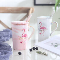 """Flamingo"" 1pc Ceramic Mug Cup with Cover Spoon Coffee Teal Milk Cups Drinkware"