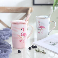 """Flamingo"" 1pc Ceramic Mug Cup with Lid Spoon Coffee Teal Milk Cups Drinkware"