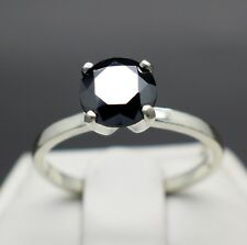 2.00cts Real Natural Black Diamond 10k White Gold Engagement Ring $1600 Value..