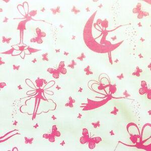 NEW!  PolyCotton Fabric Pink White Fairy Princess Girls Kids Craft Material