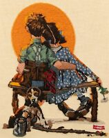 Norman Rockwell Spooners Sunset Crewel Embroidery FINISHED 1981 Dimensions 1201