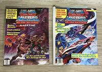 Lot of 2 Vintage MOTU He-Man Masters of the Universe Magazines w/ Posters 1986
