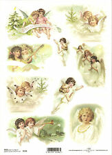 Rice Paper for Decoupage, Scrapbooking, Vintage Angels Christmas  A4 ITD R196