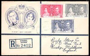 CYPRUS 1937 CORONATION 'RUISLIP STAMP CO' FDC (JF-F)