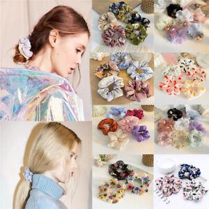 Sweet Girls Floral Hair Scrunchies Bun Ring Elastic Charm Sports Dance Scrunchie