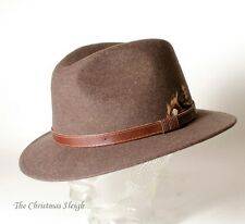 McBurn - Men's Handmade Traditional German Felt Hat - Brown with Leather Trim