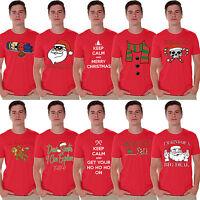MEN'S 2017 Funny Merry Christmas T-shirt Party XMAS Gift Ugly Shirts Santa RED