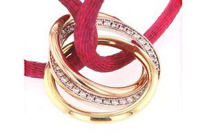 Cartier 18K Tri Color Gold Diamond Trinity Bracelet Original Box