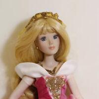 Barbie Porcelain Doll 33cm Gold Hair Pink Dress