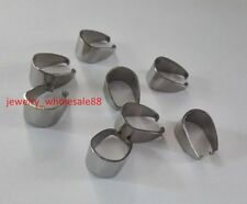 200pcs Large Stainless Steel Pendant Hook Pinch Bail Clip Clasp 9*11mm size
