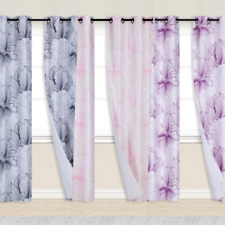 NEW 2PC PANELS GROMMET LINED WINDOW FRESH DECORATION PRINTED CURTAIN BIG FLOWER