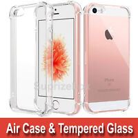 Case For Apple iPhone 5 SE 360° Silicone Gel Shockproof Cover & Tempered Glass