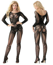 Sexy Women Full Body Stocking Open Crotch Lingerie Long Sleeve Pantyhose Skinny