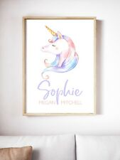 Baby Nursery Wall Decor, Unicorn, A4 unframed Print.