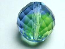 Große böhmische facettierte Glasperle 20 mm blau grün schimmernd