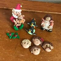 Estate Lot of Miniature Mini Polymer Clay Elf Santa Claus Sledding Penguins Girl