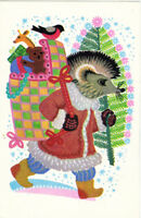 1967 Soviet Russian postcard HEDGEHOG WITH GIFTS IN THE BAG by K.Ovchinnikov