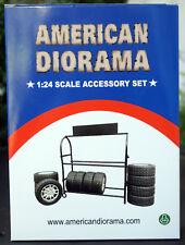 77530 American Diorama Metal Tire Rack Reifen Felgen Regal kplt. 8 Reifen, 1:24