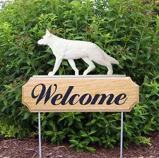 German Shepherd Dog Breed Oak Wood Welcome Outdoor Yard Sign White