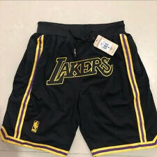 Los Angeles Lakers Black Shorts Pocket Zipper All Sewn