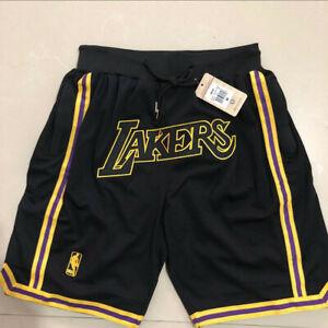 Vintage Los Angeles Lakers Black Basketball Shorts Men's Pants NWT stitching