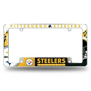 Pittsburgh Steelers Chrome ALL OVER Premium License Plate Frame Cover Truck Car