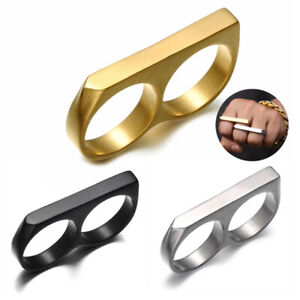 Stainless Steel Men Two-Finger Ring Matte Punk Party Statement Doubl-Finger Ring