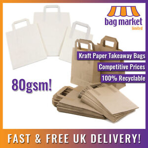 Brown & White Kraft Paper Carrier Bags   Takeaway/SOS/Party/Lunch/Biodegradable