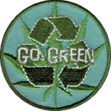 16171 Go Green Pot Leaf Recycle Logo Weed Eco 420 Embroidered Sew Iron On Patch