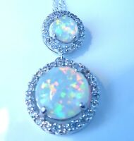 "**NEW**925 SILVER GORGEOUS 2 STONE WHITE FIRE OPAL PENDANT + 20"" SILVER CHAIN."
