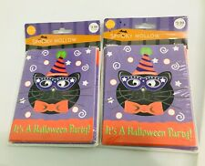 16 vintage 2005 Halloween Party invitations, black cat in original packaging NEW