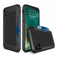 For iPhone X XS Hybrid Tough Shockproof Case Cover with Credit Card Slot