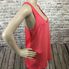 bebe Top Tank Women Coral M Rhinestone Scoop Neckline Casual Evening Stretch New