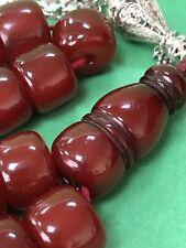 Antique Ottoman Damari Faturan cherry amber  bakelite islamic prayer beads 98g R