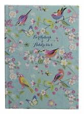 WHSmith Melodie A5 Birthday And Address Book Floral Design Turquoise Hard Cover