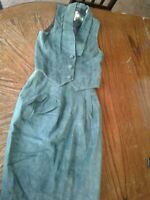 Vintage Evan Davies Green Suede 2 Piece Vest and Skirt Suit (cb27)