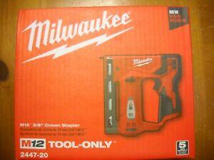 "Milwaukee 2447-20 M12 Li-Ion 3/8"" Crown Cordless Stapler T50 New"